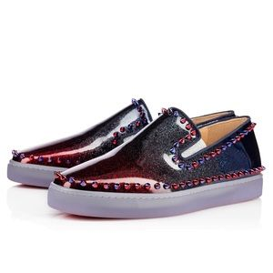 Christian Louboutin Ombré red and blue  Slip Ons